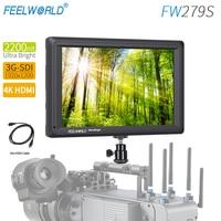 Feelworld FW279S 7Inch 2200nit Daylight Viewable 3G SDI Mini HDMI Monitor Camera Field Monitor 4K HDMI 1920X1200 for DSLR Camrea