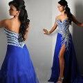 2016 Frete Grátis Azul Royal Chiffon Abertura Frontal vestido de Contas de Cristal Longos Vestidos de Noite Formal do baile de Finalistas Vestidos de Gala Jurken E4469