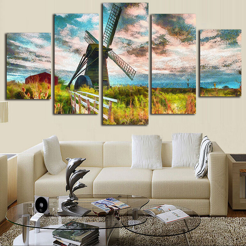 Art Modular Poster Frame Pictures Home Decoration 5 Panel Field Windmill HD Printed Modern Canvas Painting Wall Living Room