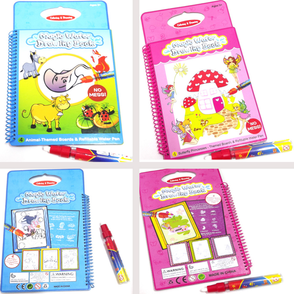 ptab006 boysgirls toys kids magic water drawing toy book with 1 magic pen intelligence - Drawing Books For Boys