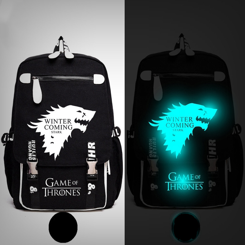 Game of Thrones Winter is Coming Stark Growing Strong Backpack Messenger Luminous Book Bag School Travel Bags Anime Gift hot teleplay game of thrones pocket watch house stark of winterfell quartz watches retro design winter is coming