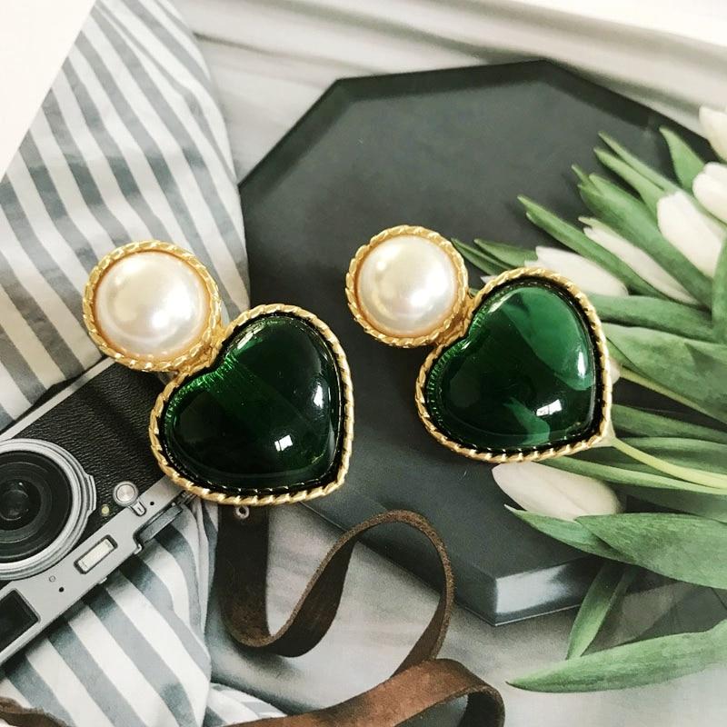 Green Colors Earring Styles, Geometric Alloy Enamel Resin Clip Earring, Fan Flower Heart Round Jewelry