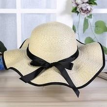 345253e7cc863 Floppy sombrero de playa para las mujeres ala grande Dom paja sombreros  Roll up plegable Bowknot