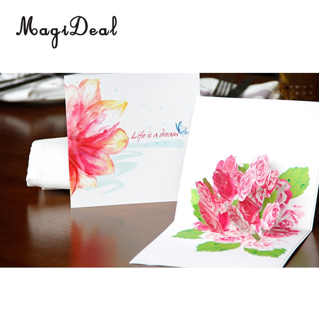 3d Pop Up Flower Greeting Cards Handmade Birthday Xmas Gift With