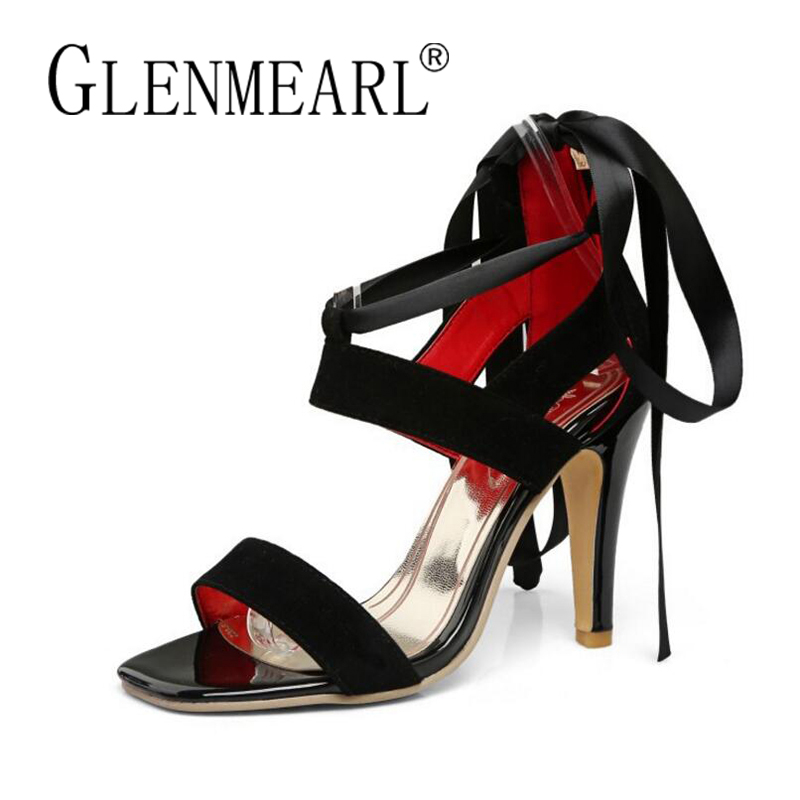 Sexy Women Sandals High Heels Shoes Brand 2018 Summer New Fashion Thin Heels Ankle Strap Ladies Sandals Shoes Plus Size 34-45 brand new strap high heels sandals women sandals with platform footwear woman evening shoes women sexy ladies shoes