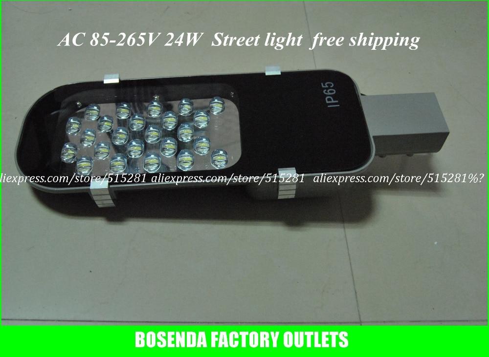 Высокая Яркость LED Лампы Уличного Освещения Дороги Лампы IP65 Водонепроницаемый Алюминиевый Корпус AC85V ~ 265 В 24 Вт Свет Супер яркий