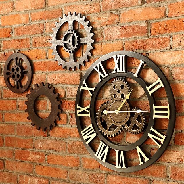 40 cm/45 cm Handmade 3D retro trang trí mộc mạc nghệ thuật sang trọng big bánh răng bằng gỗ cổ điển lớn đồng hồ treo tường on các tường cho món quà