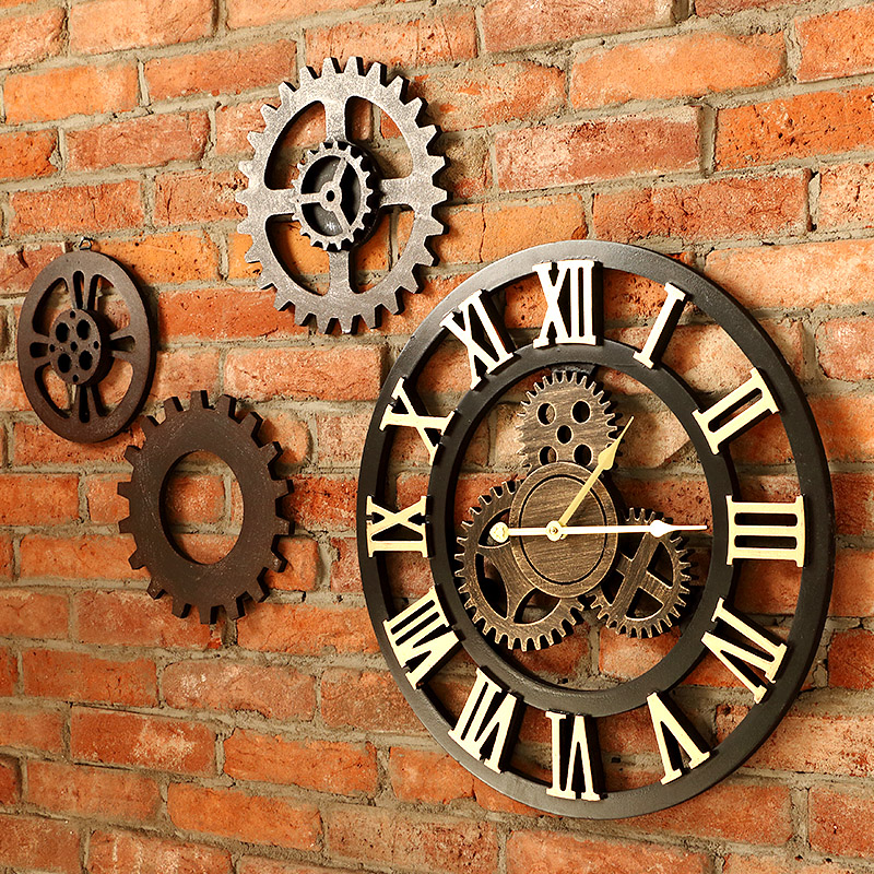 40 cm/45 cm fait à la main 3D rétro rustique décoratif de luxe art grande vitesse en bois vintage grande horloge murale sur le mur pour cadeau