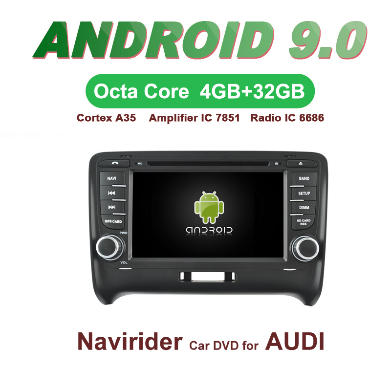 Navirider GPS Android 9.0 bluetooth stereo 4 Core 8 Core car DVD player for AUDI TT 2006 2014 tape recorde autoradio accessories