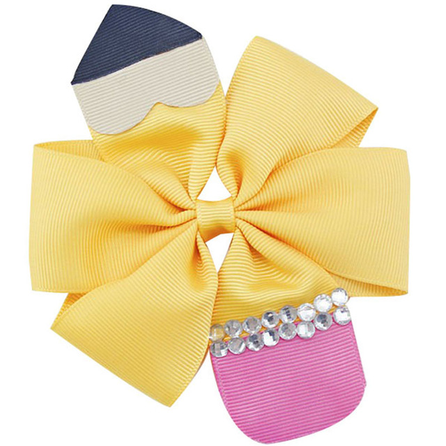 f7bc4c2c41aaa 10pcs 4.5'' School Hair Bow Go back to School Stacked Boutique Hair Bow  Crayon hair bow pencil hair bows free shipping-in Hair Accessories from  Mother ...