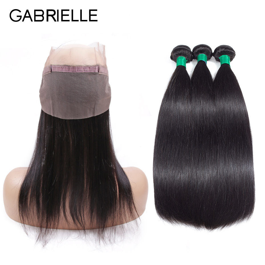 Gabrielle Malaysian Straight Hair Weave 3 Bundles Human Hair 360 Frontal with Bundles Natural Black Non