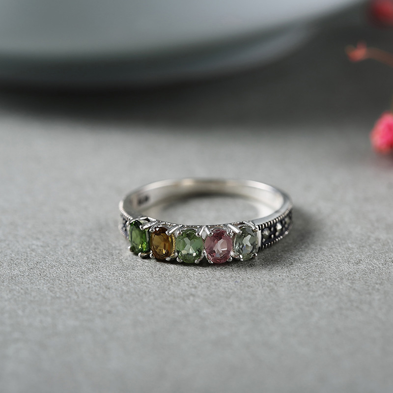 Authentic 925 Silver Ring With Natural Tourmaline Colorful Stone Women Rings Elegant Fine Jewelry Bijoux