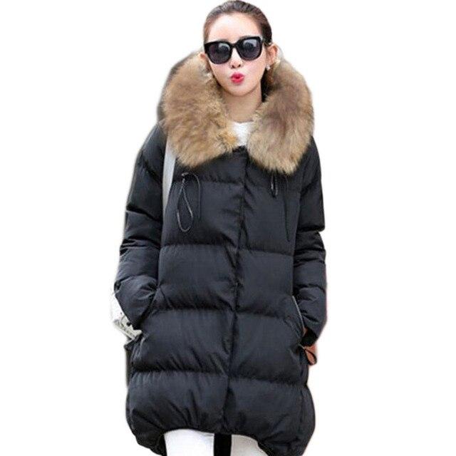2016 Para Baixo Casaco Parkas 5XL Casacos de Inverno Gola De Pele das Mulheres tamanho grande de Alta Qualidade Veste Hiver Femme Parka Quente Capuz JX083