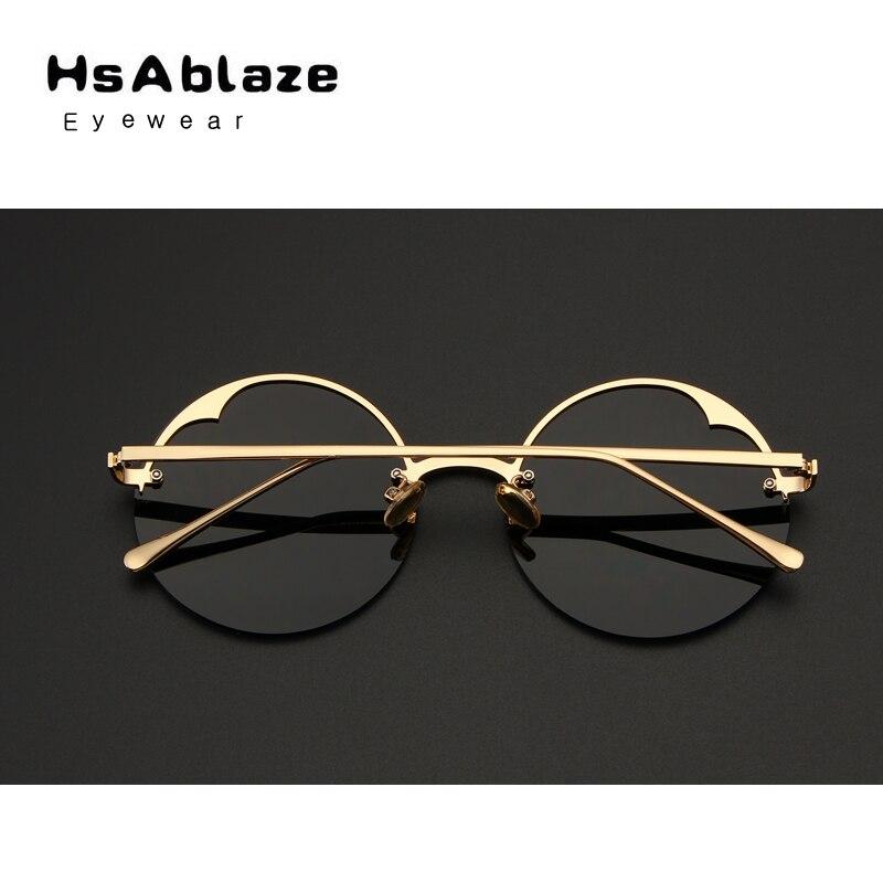 1067dd8dce184 HsAblaze Lunettes Sans Monture Ronde lunettes de Soleil Femmes Vintage  Grand Soleil Lunettes Femme Marque Design Clair lunettes de Soleil lunette  de solei ...