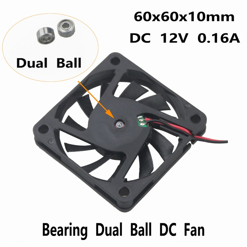1 Piece Gdstime 12V Dual Ball <font><b>6010</b></font> 60mm x 10mm 6cm DC Brushless Cooling <font><b>Fan</b></font> 60mm*60mm*10mm PC CPU VAG Heatsink Cooler 60x60x10mm image