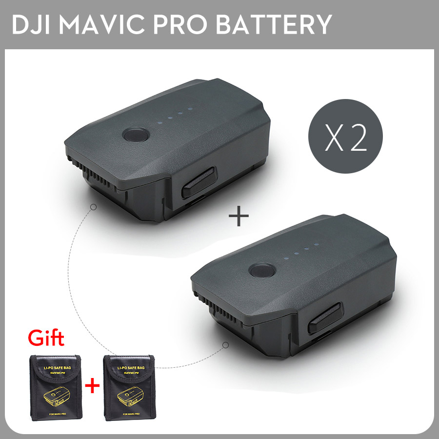 2PCS DJI Mavic Pro Intelligent Flight Battery Max 27-min Flight Time 3830mAh 11.4V Designed for the Mavic pro