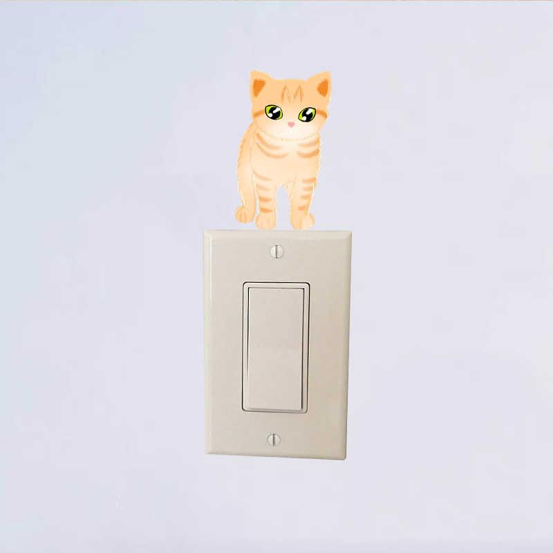 YOJA Kitty-joli autocollant pour interrupteur lumineux | Couverture de décalcomettes en PVC, décoration murale de la maison, 8SS0034