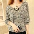 Europea Hollow Out Tejer Ropa Superior Sin Forro V Plomo Sólido Suéter de Color Nueva Primavera Y el Otoño de La Mujer Delgada Pullover Sweater