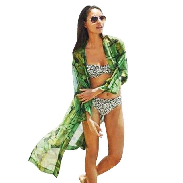 2017 Femmes Élégant Vert Feuilles Imprimer Longue Mousseline de Soie Kimonos Tricots Vintage Bikini Cover Up Plage Cape Cardigan Chemises