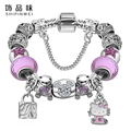 Lovely Gift Candy Styles Murano Glass Beads Kitty Charm Bracelet  Bangles Cute Jewelry For Women Girls ps3184