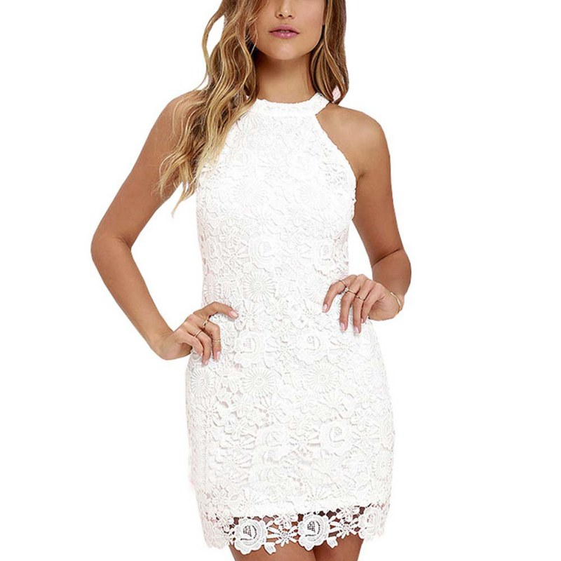 2017 Sexy Women Elegant Lace Embroidery Halter Neck White Dress Slim Retro Lady Wedding Party Night Club Dresses