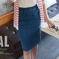 Mujeres de moda falda denim jeans ladies faldas más el tamaño elástico de la cintura mujeres casual paquete cadera falda envío gratis