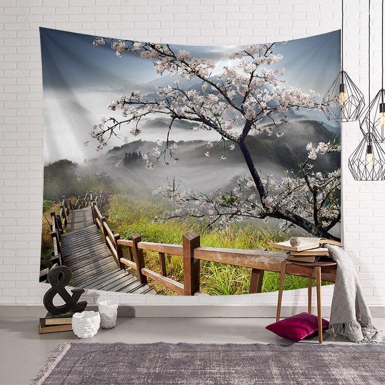 Alberi CAMMITEVER Natural Scenic Ponte Tapestry Wall Hanging Paesaggio Arazzi Mandala Bohemian Tiro