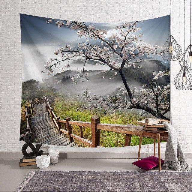 CAMMITEVER 자연 경관 나무 다리 태피스트리 벽 교수형 풍경 벽 태피스 트리 만다라 보헤미안 던지기