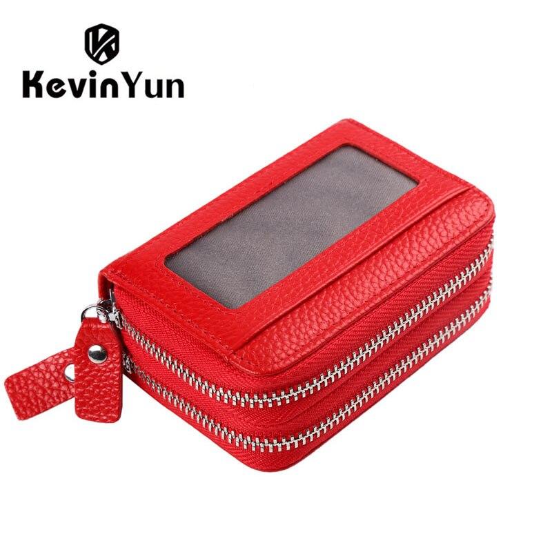 Kevin yun marca de moda couro genuíno titular do cartão das mulheres duplo zíper grande capacidade do sexo feminino id caso cartão crédito saco carteira