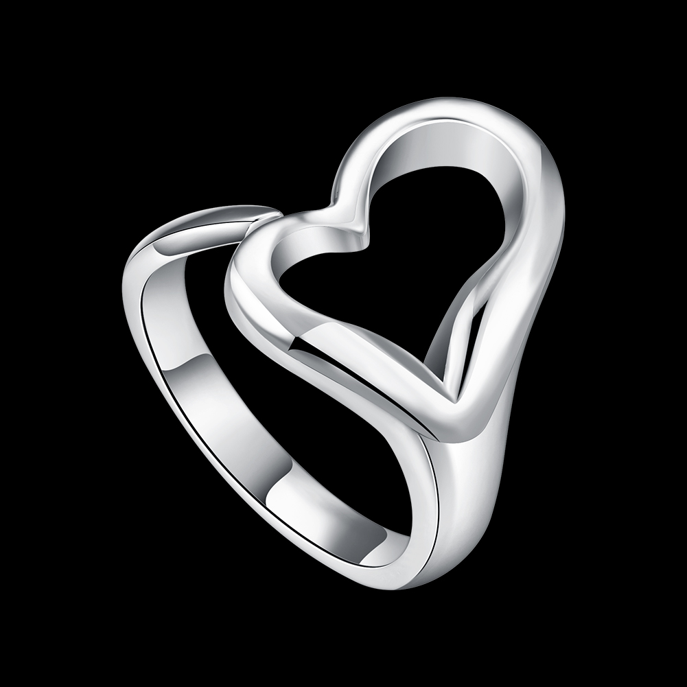 INALIS Simple Romantic Heart Flat Adjustable Rings Beautiful Stainless Steel rings For Women Girl Female Jewelry Gift