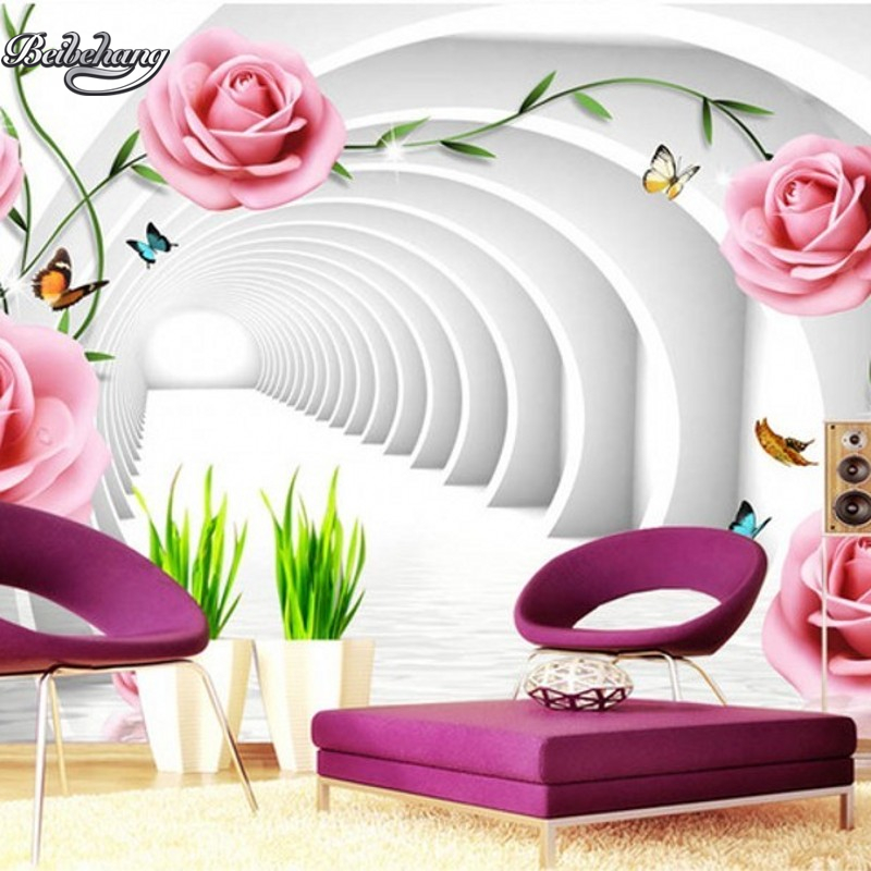 Beibehang rosas rosa grande personalizado mural papel de parede tv fundo papel de parede sala estar para paredes 3 d