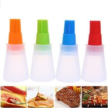 Portable Silicone Oil Bottle With Brush Baking BBQ Basting Brush Pastry Oil Brush Kitchen Baking Honey Oil barbecue Tool Gadgets(China)