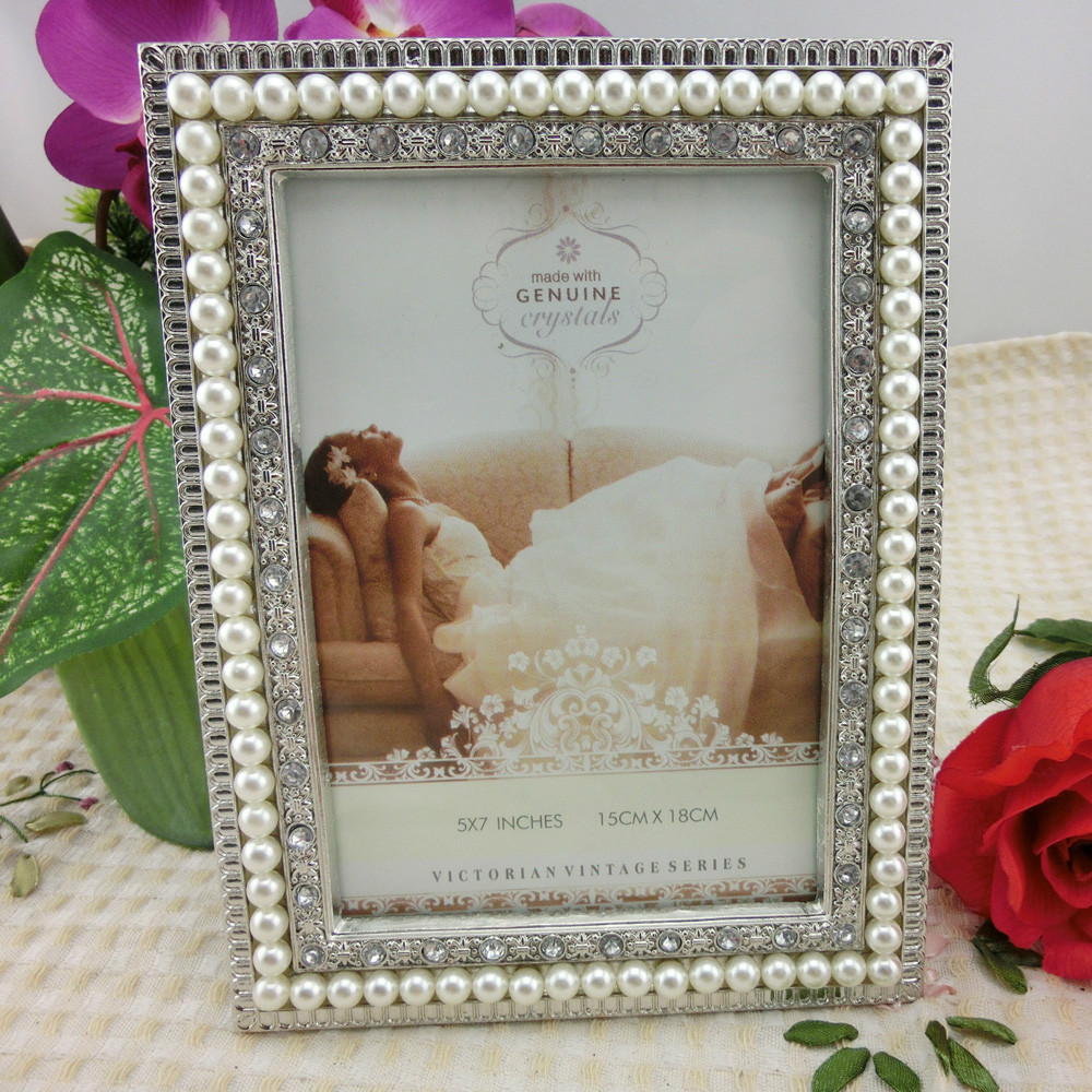 Silver Pearl Wedding Metal Photo Frame 5x7 inches-in Frame from Home ...