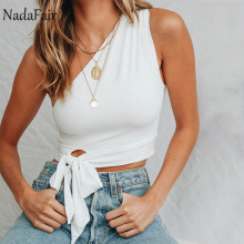 Nadafair white black crop tops women sleeveless one shoulder lace up sexy tank tops camis female summer casual cropped t shirts