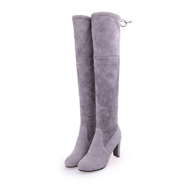 MCCKLE Plus Size Fashion Female Winter Thigh High Boots Faux Suede Leather High Heels Women Over The Knee Shoes Drop shipping 1
