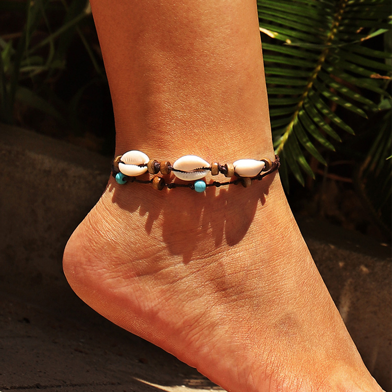 ZVZO Vintage Weave Rope Wood Bead Shell Bohemian Anklets for Women Summer Beach Holiday Accessories Ankle Bracelets for Women