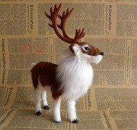 Aritificial Animal 22x7x27cm Brown Reindeer Model Christmas Deer Toy Polyethylene Furs Handicraft Decoration Baby Toy A0460