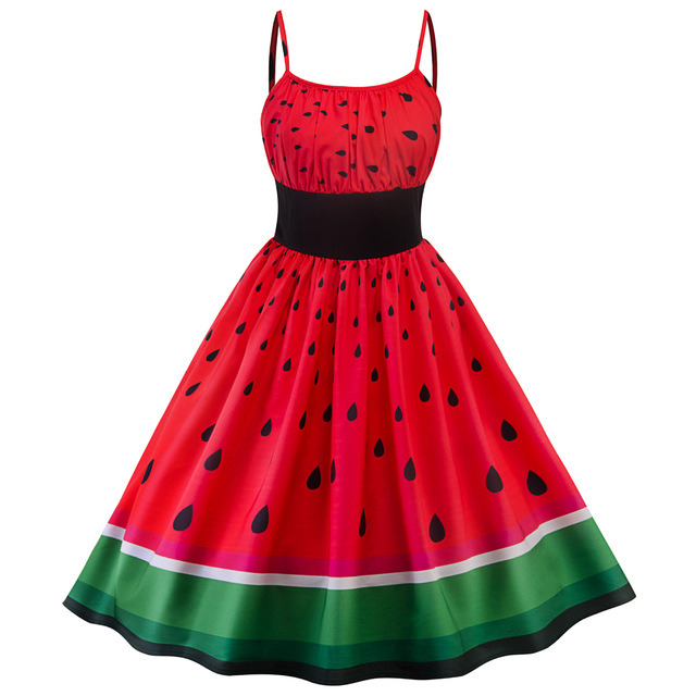 US $23.15 8% OFF|2018 Summer Women Vintage Dresses Plus Size Red Watermelon  Print Patchwork Pin Up Retro 50s Party Rockabilly Dress-in Dresses from ...