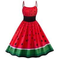 2018 Summer Women Vintage Dresses Plus Size Red Watermelon Print Patchwork Pin Up Retro 50s Party Rockabilly Dress