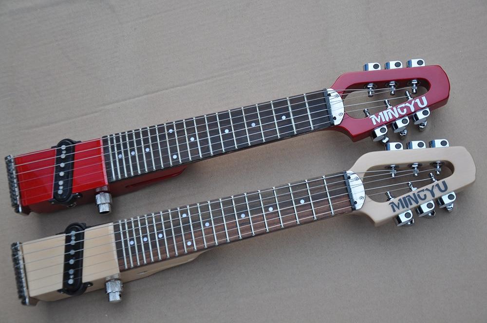 Mini guitare électrique silencieuse de poche de voyage portatif de MINIstar avec 1 ramassage, Fretboard de palissandre, adulte/enfants peuvent jouer