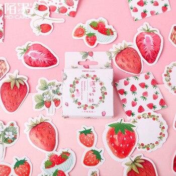 Etiqueta engomada en caja de 45 piezas, etiqueta engomada del queso de fresa, adornos creativos corte Kawaii, papelería de oficina, etiqueta de sellado en forma
