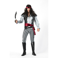 2018 new captain pirates caribbean Jack Sparrow Pirate fantasia Adult Cosplay Fancy Dress Carnival Halloween Cosplay Men Costume