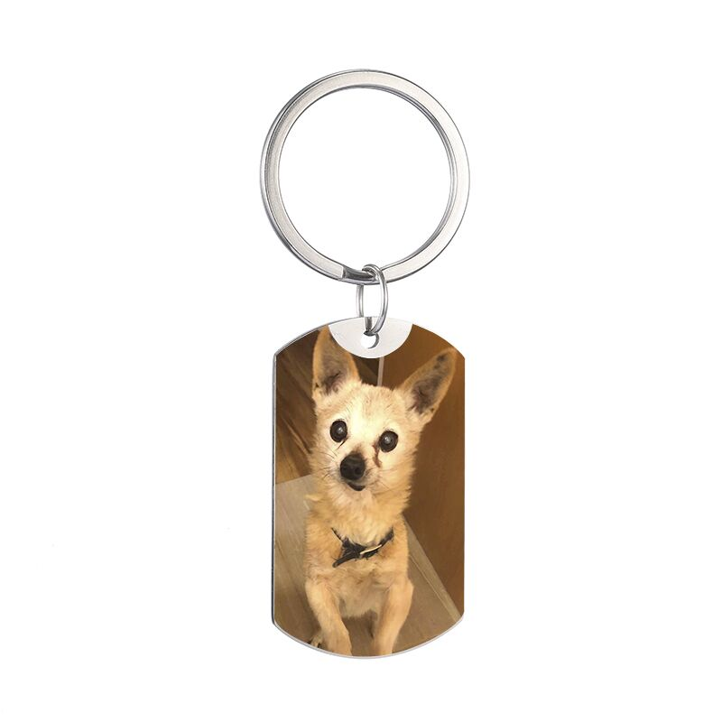 Custom DIY Dog Tag Photo Keychain Stainless Steel Personalized Engraved photograph Keychain For Love Dog People Dog Keepsake New in Key Chains from Jewelry Accessories