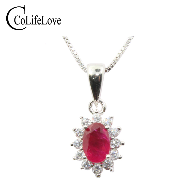Natural blood red ruby pendant for office woman 4 mm * 6 mm ruby silver pendant solid 925 sterling silver ruby necklace pendant путь ruby