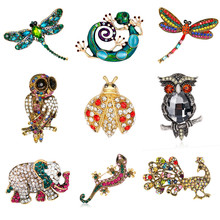 Vintage Insect Dragonfly Ladybug Brooch Pin Women Crystal Animal Elephant Peacock Brosh Lizard Owl Broches Mujer Men Brosche