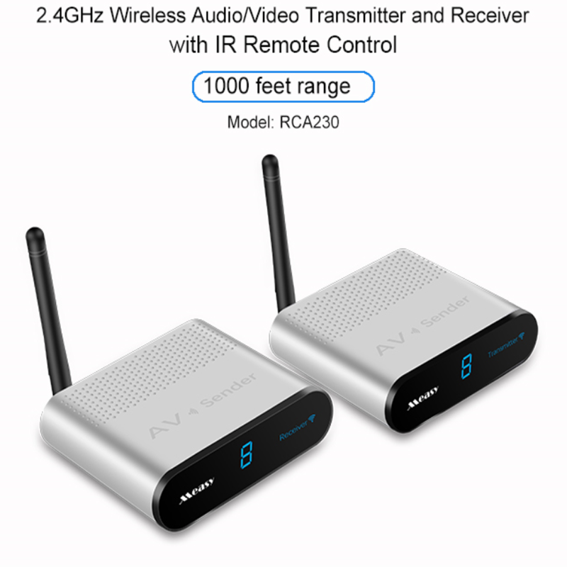 Measy 2.4GHz Wireless Audio/Video Transmitter and Receiver with IR Remote Control 1000 Feet/300m Range