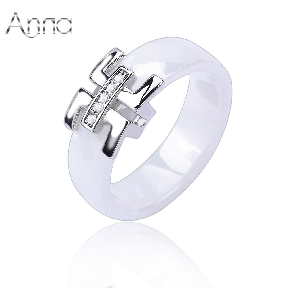 A N 2017 Cheap Women Finger Ceramic Rings Engagement Wedding Rings For Women Cubic Zirconia Silver