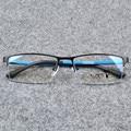 Señores Gafas de Moda Masculina Azul Mitad Rimmed Gafas Ópticas Marco
