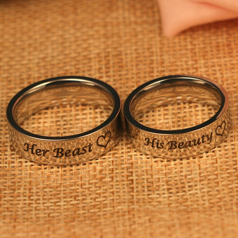 1 pcs Stainless Steel Rings Couple Rings Wedding Jewelry For Lovers Her Beast His Beauty ...