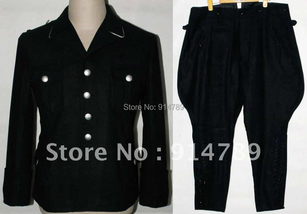 WW2 GERMAN ELITE M32 BLACK WOOL TUNIC & BREECHES IN SIZES-31949
